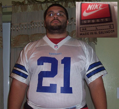 Fat man in a Deion Sanders Cowboys Jersey