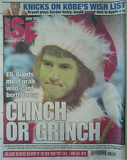New Yorks Giants Eli Manning Grinch
