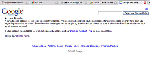 Banned, Disabled Google Account Screenshot